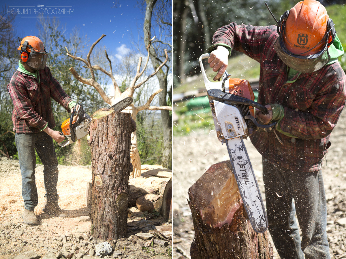 editorial photography Adam Humpherys chainsaw artist