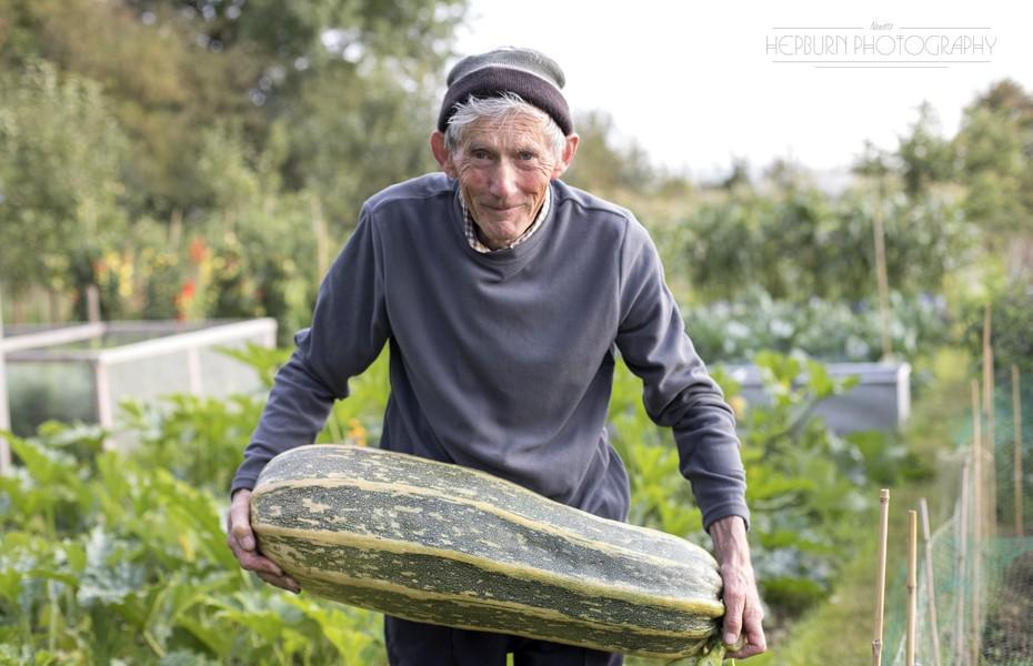 Garden photography horticulture man in veg plot